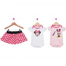 Kit Body Com Saia Disney Minnie Tricae Rosa e Branco