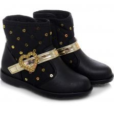 Bota Infantil Grendene Kids We Love Preto e Dourado Lisa Barbie