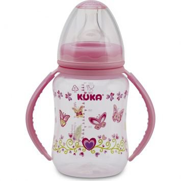 Mamadeira Big Natural 240ML com Alça Bico Big Universal Rosa Kuka
