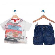 Conjunto Curto Infantil Kyly Casual Off White