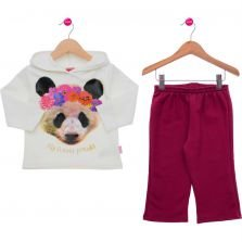 Conjunto Longo Infantil Kyly New Casual Off White Estampado