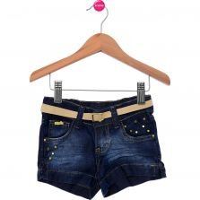 Short New Mania Kids Com Cinto Azul Liso