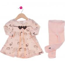 Vestido Infantil New Milon Casual Nude Estampado