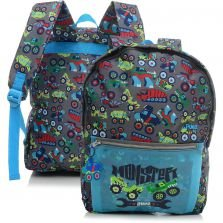 Mochila de Costas Juvenil Puket Monstercar Cinza