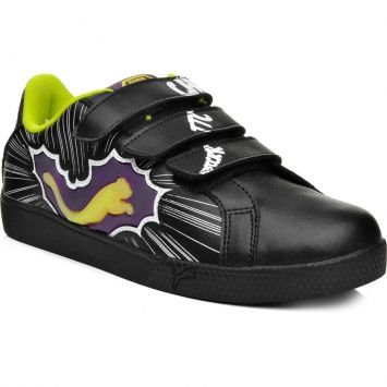 Tênis  Game Point Hero V Kids Preto e Amarelo Puma