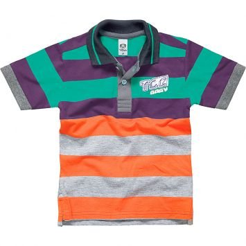 Camisa Polo Verde e Laranja Listrada Tigor T. Tigre