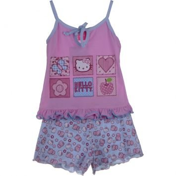 Pijama Hello Kitty Rosa e Azul Tip Top